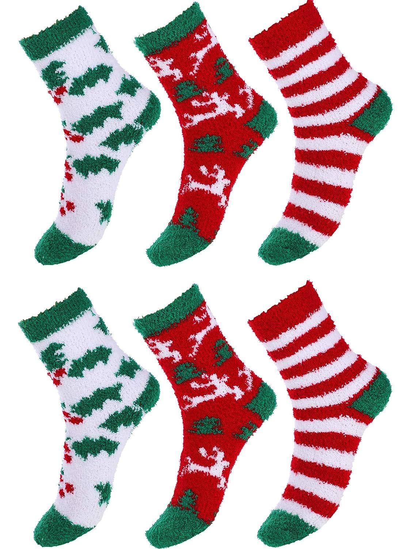 Blulu 3 Paia Calze di Natale Calzini Invernali Caldi Calze a Coste Spesse Morbide e Sfocate per Donne Ragazze Favori