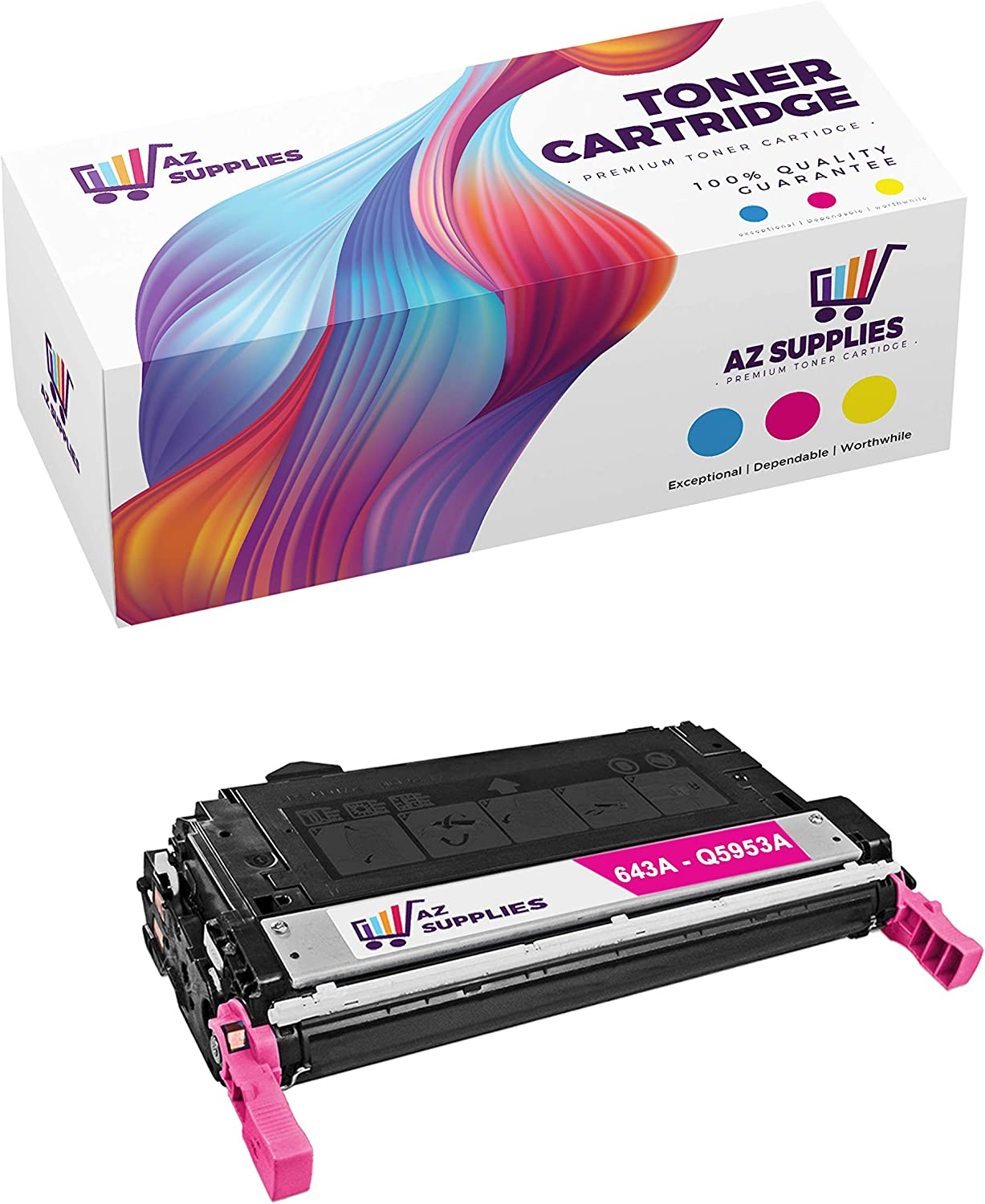 AZ Supplies Compatible Toner Cartridge Replacement for HP 643A Q5953A Color Laserjet 4700 4700DN 4700DTN 4700N 4700PH+ (Magenta - 1 Pack)
