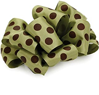 product image for Offray Wired Edge Ringleader Dots Craft Ribbon, 2-1/2-Inch Wide by 10-Yard Spool, Green/Brown