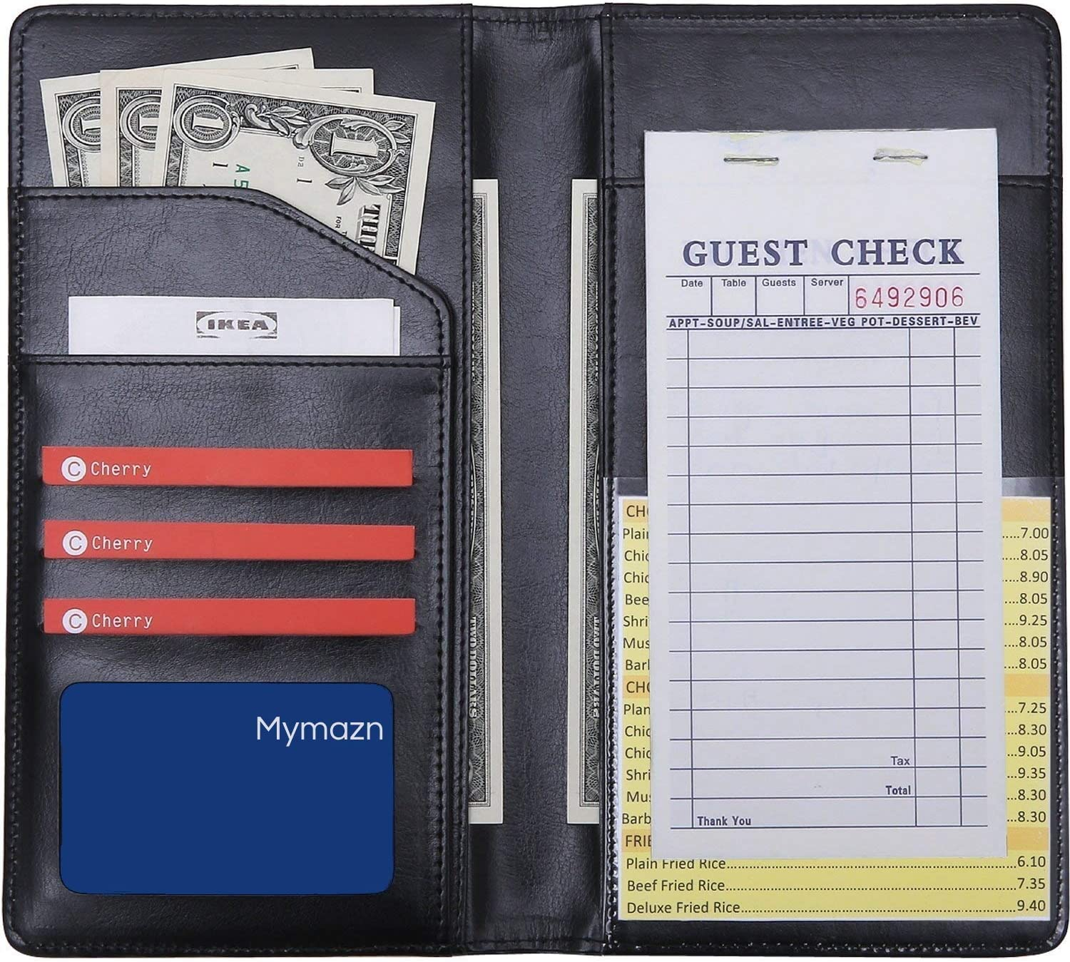"5"" x 9"" Big Waiter Book Server Wallet Server Pads Waitress Book Long Restaurant Waitstaff Organizer, Guest Check Book Holder Money Pocket Big Size(Black) 81sI5T42hnL"
