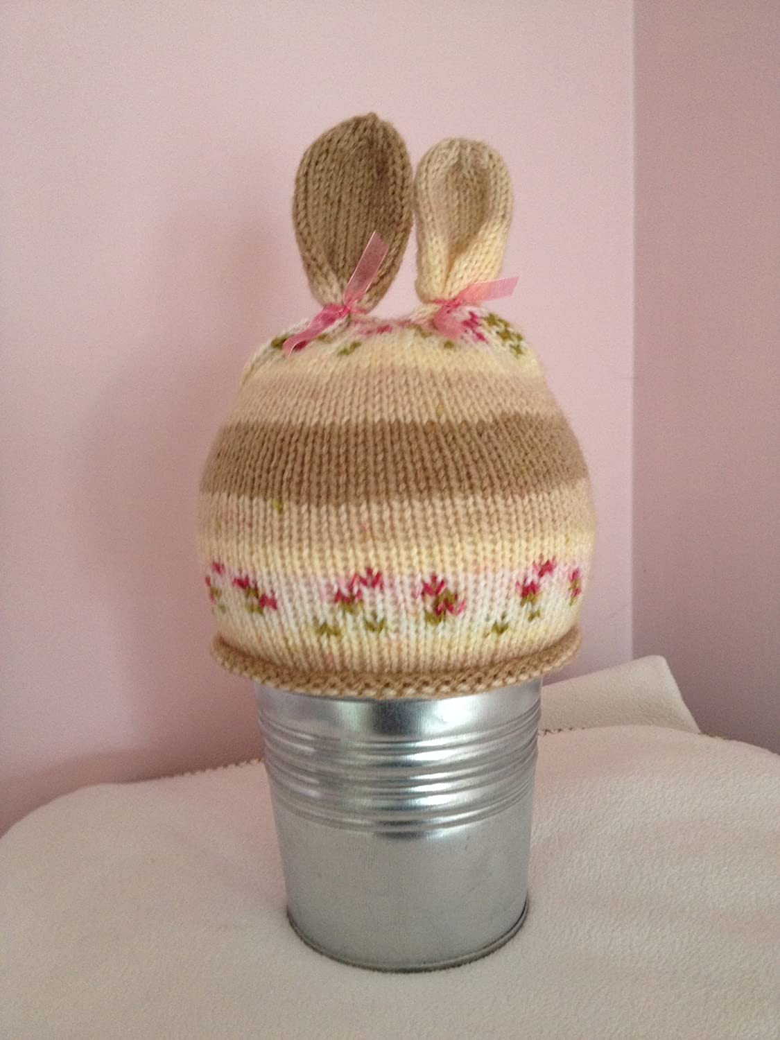 Bunny beanie hat with ears - hand-knitted in fairisle yarn