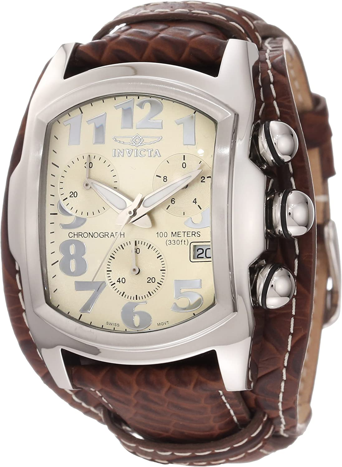 Invicta Men s 11322 Lupah Chronograph Beige Dial Brown Leather Watch