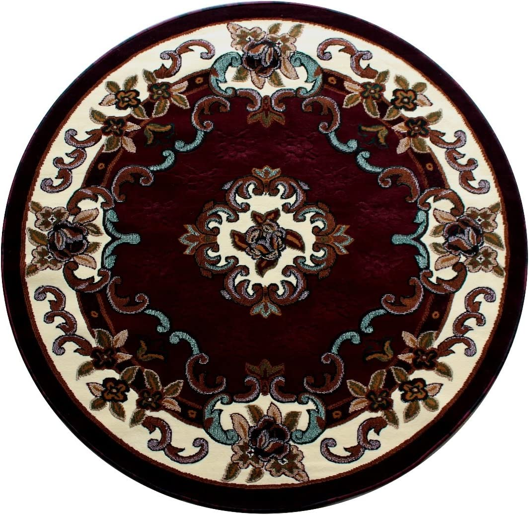 Kingdom Traditional Classic Round Area Rug Design 121 Burgundy 6 Feet 8 Inch X 6 Feet 8 Inch Round