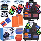 INNOCHEER Kids Tactical Vest Kit 2 Pack Compatible with Nerf Guns N-Strike Elite Series with 120 Pcs Refill Darts, 2…