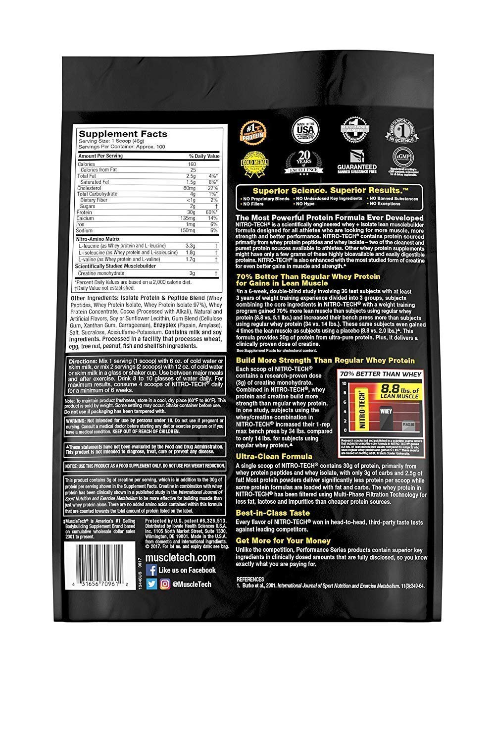 MuscleTech NitroTech Protein Powder Plus Muscle Builder, 100% Whey Protein with Whey Isolate, Milk Chocolate, 103 Servings (10lbs) by MuscleTech (Image #3)