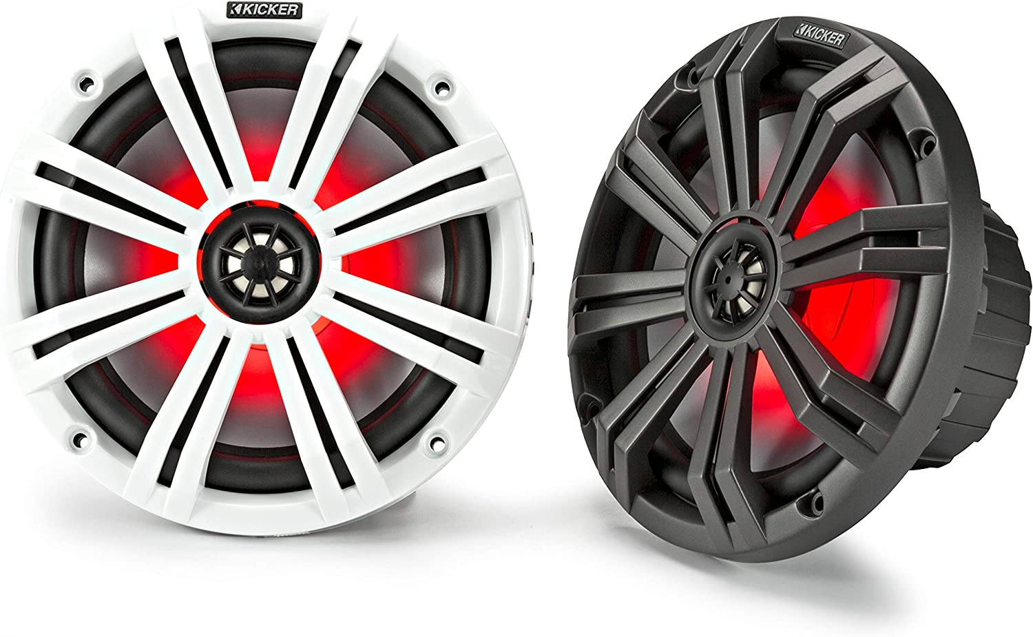 Kicker 45KM84L 8-Inch Marine Coaxial Boat Speakers, Black and White Grilles, Red LED Lights, 4-Ohm, 300 Max Watts, Pair