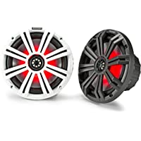Kicker 45KM84L 8-Inch Marine Coaxial Boat Speakers, Black and White Grilles, Red LED… photo