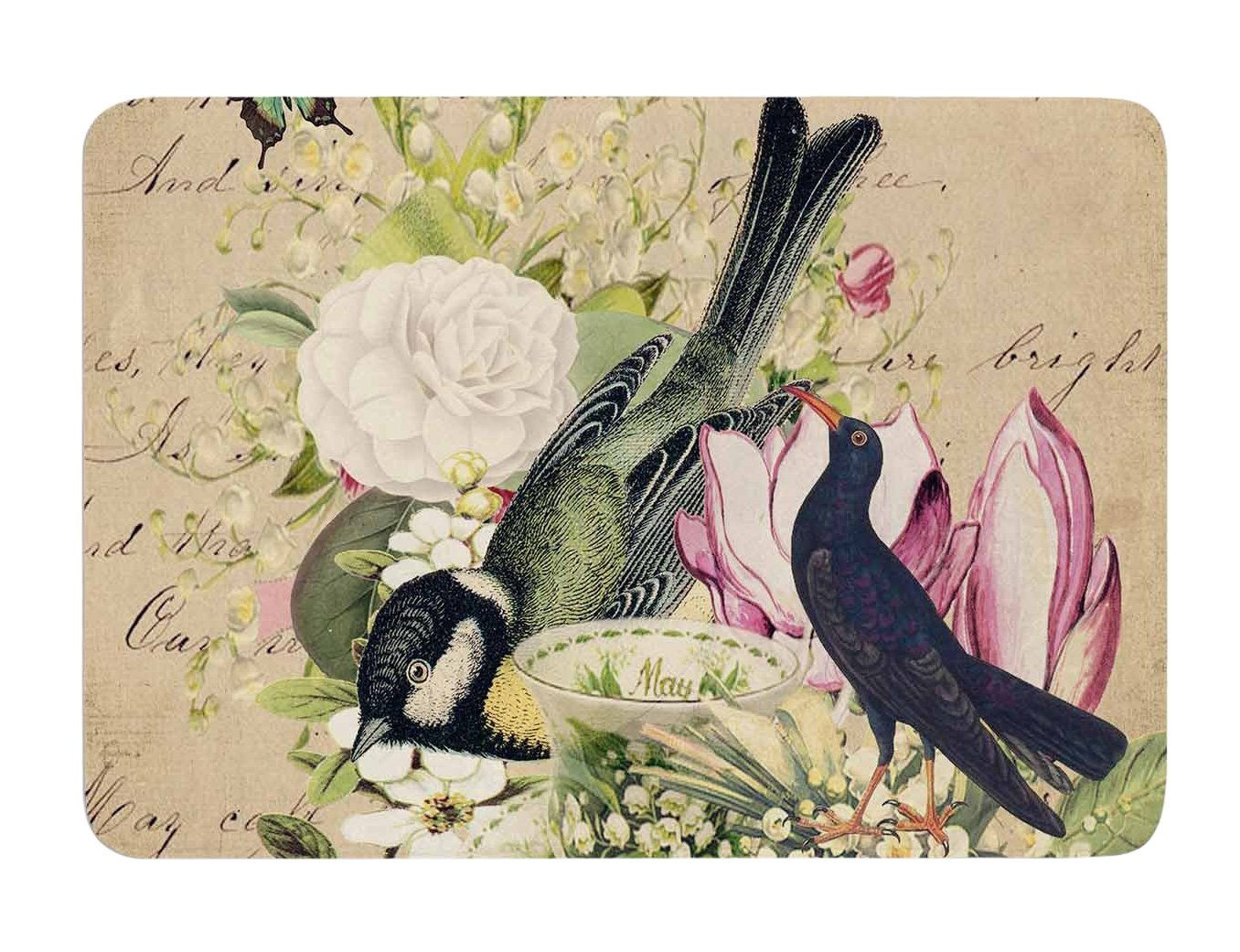 17 X 24 Kess InHouse Suzanne Carter Vintage Tea Bird Illustration Memory Foam Bath Mat 17 by 24-Inch