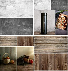 2PCS Photography Background Paper Wood Marble Waterproof Food Photo Backdrop Double Sided, BEIYANG