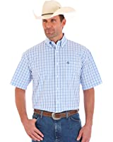 Wrangler Men's George Strait Short Sleeve Plaid One Pocket Button Shirt - Mgsb324