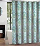 IZMIR Fabric Shower Curtain by Cynthia Rowley Blue Green Paisley Medallion Pattern on White