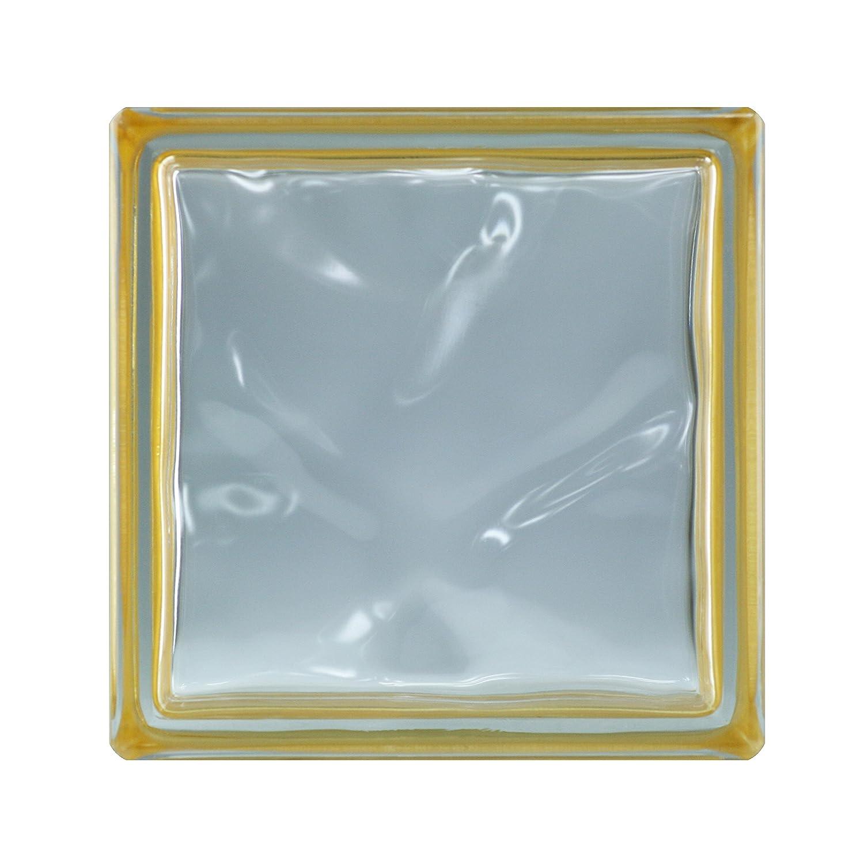 6 St/ück BM Glassteine Wolke Reflex Gold 19x19x8 cm