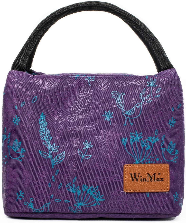 winmax Food Casual bolsa de almuerzo con aislamiento organizador de almuerzo Bolsas térmicas bolsa de refrigeración Bolsa de asas para mujeres niñas dama Púrpura