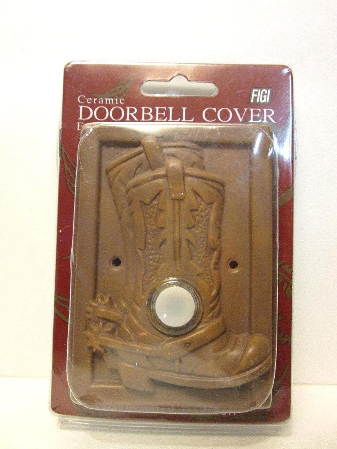 Figi Illuminated Button Ceramic Doorbell Cover Cowboy Boots Dark