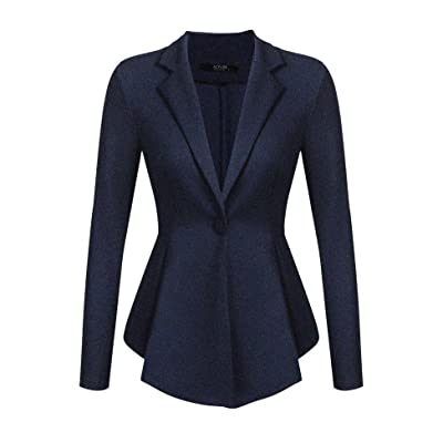 ACEVOG Womens Casual Work Office Open Front Blazer Jacket A Navy Blue S at Women's Clothing store