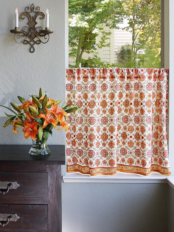 Saffron Marigold Orange Blossom Hand Printed Cotton Tier Curtains | Floral, Summer, Persian, Medallion, Sunflower Cafe Kitchen Curtains Window Treatment for Bathroom, Kitchen, Home Decor 46 x 36