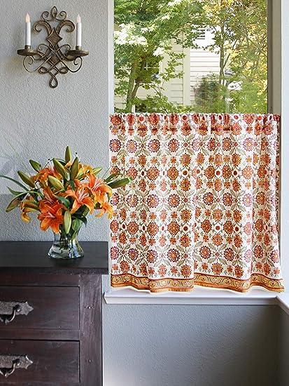 Saffron Marigold Orange Blossom Hand Printed Cotton Tier Curtains | Floral,  Summer, Persian, Medallion, Sunflower Cafe Kitchen Curtains Window ...