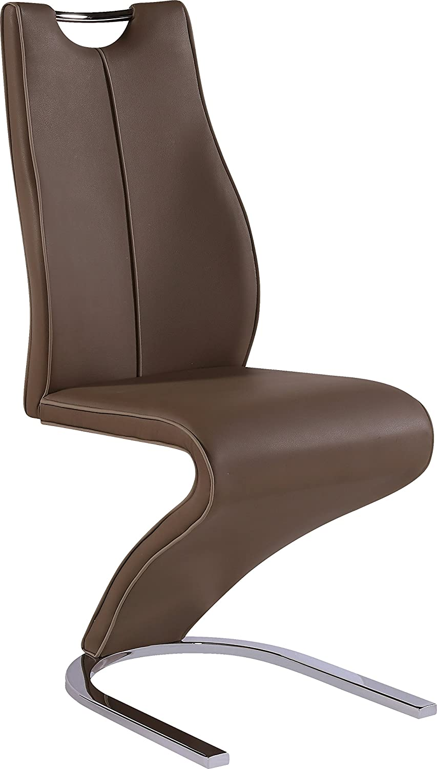 Global Furniture Dining Chair, Brown Pu with Cappuccino Trim