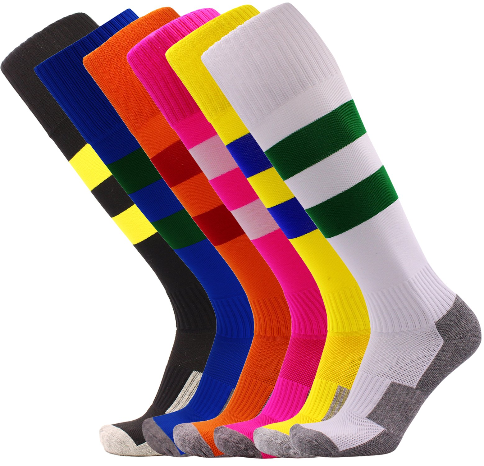 Kids Soccer Socks Bulk 6 Pack Young Boys/Girs Knee High Striped Sport Socks (Hot Pink + Orange + Yellow + Black + White + Royal Blue) by KALAKIDS