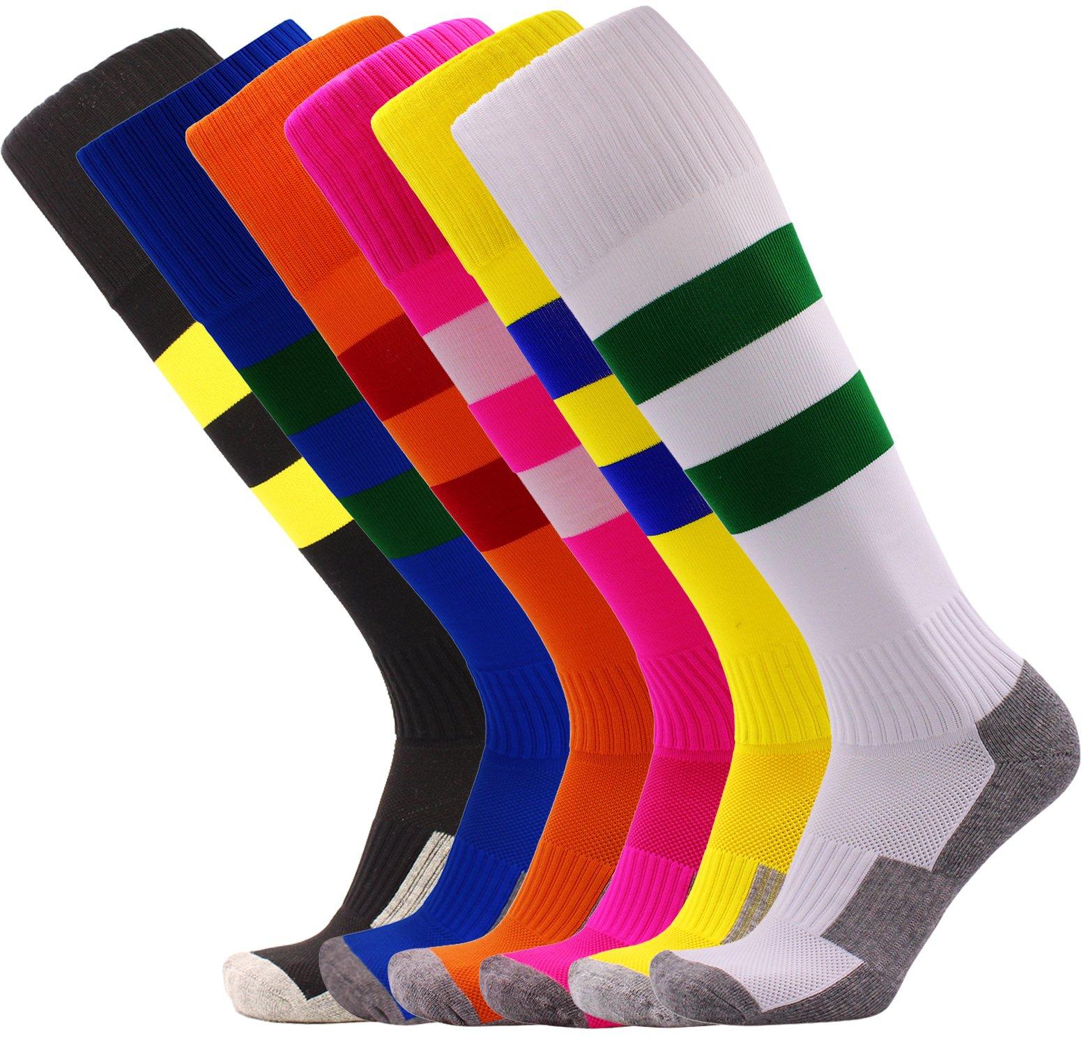 Soccer Socks for Toddler Knee High Colorful Stripe Cushioned Bottom Sport Socks 6 Pack