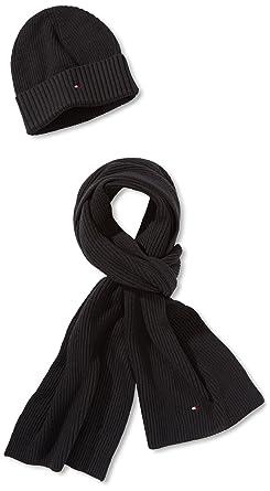 c24a085042e6 Tommy hilfiger - pima - ensemble de bonnet, écharpe - uni - coton - homme