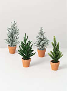 Sullivans Artificial Mini Potted Trees Set of 4, 2 Green Holiday Trees 2 Flocked Christmas Trees, Set of Four (TR1081)