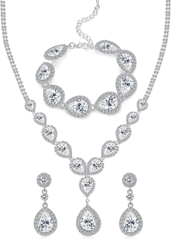 FUNRUN JEWELRY Wedding Bridal Crystal Jewelry Set for Women Teardrop Statement Necklace Bracelets Earrings Set
