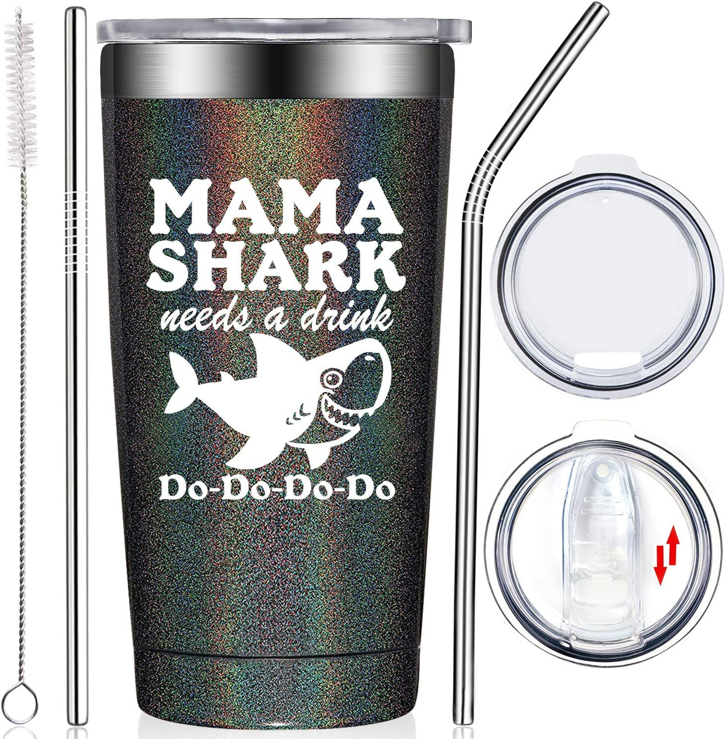 Fufendio Gifts for Mom - Mama Shark Needs a Drink - Funny Best Mom Birthday Gifts from Daughter, Son, Kids - Mother's Day Present Idea for New Mon, Mommy, Wife, Women - Tumbler Cup with Lid and Straw