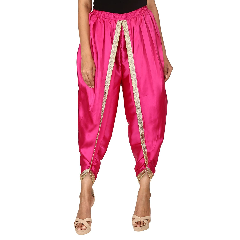 Hot Pink Color Satin Silk Dhoti Pant, Patiala Dhoti Salwar, Dhoti Trousers for Women, Girls
