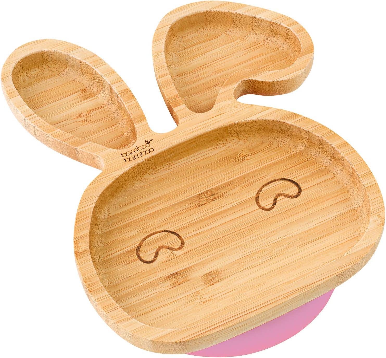 Plato con ventosa de succión para bebés y niños pequeños, queda en su sitio, hecho de bambú natural rosa rosa