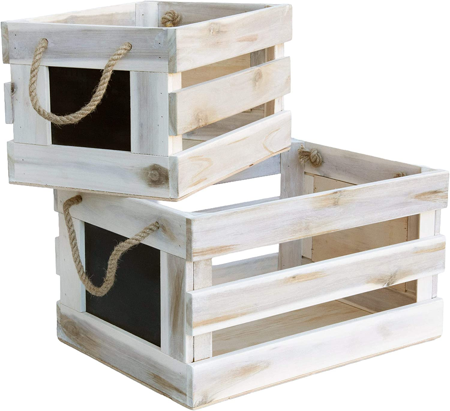 Modern Village White Wooden Crates Decorative Set with Chalk Face and Rope Handles, Rustic Storage Crates (18 and 15 Inch)