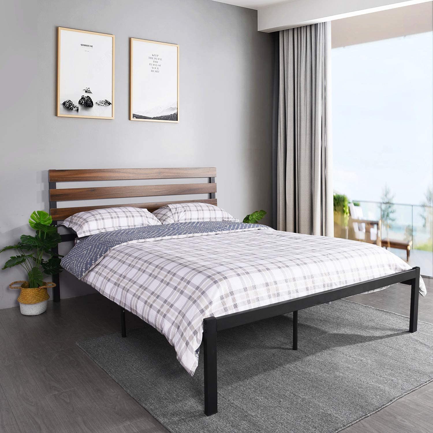 Black-1, Double Bed Platform Double Metal Bed Frame Day Bed with Headboard