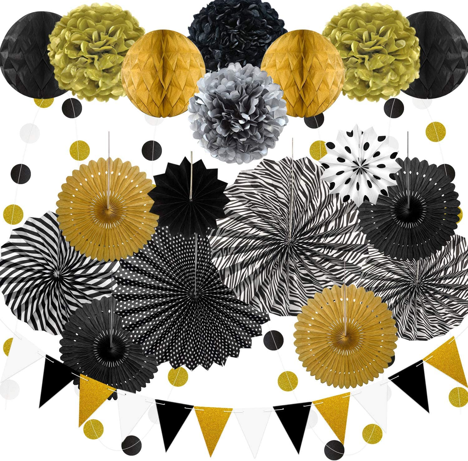 23Pcs Paper Fan Party Decoration, Black and Gold Hanging Paper Fans, Pom Poms Flowers, Garlands String Polka Dot and Bunting Flags for Birthday Party, New Year Parties, Bridal Showers, Wedding, Gradua