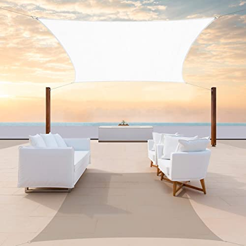ColourTree CTAPR0814 Custom Size 17' x 22' White Sun Shade Sail Canopy UV Block Rectangle