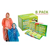 Poncho Family Pack - Emergency Disposable Rain Ponchos- Perfect for Travel, Theme Parks, Hiking, Fishing Includes- 4 adult (Men and Women) and 4 child ponchos with hood and Sleeve (Extra Thick)
