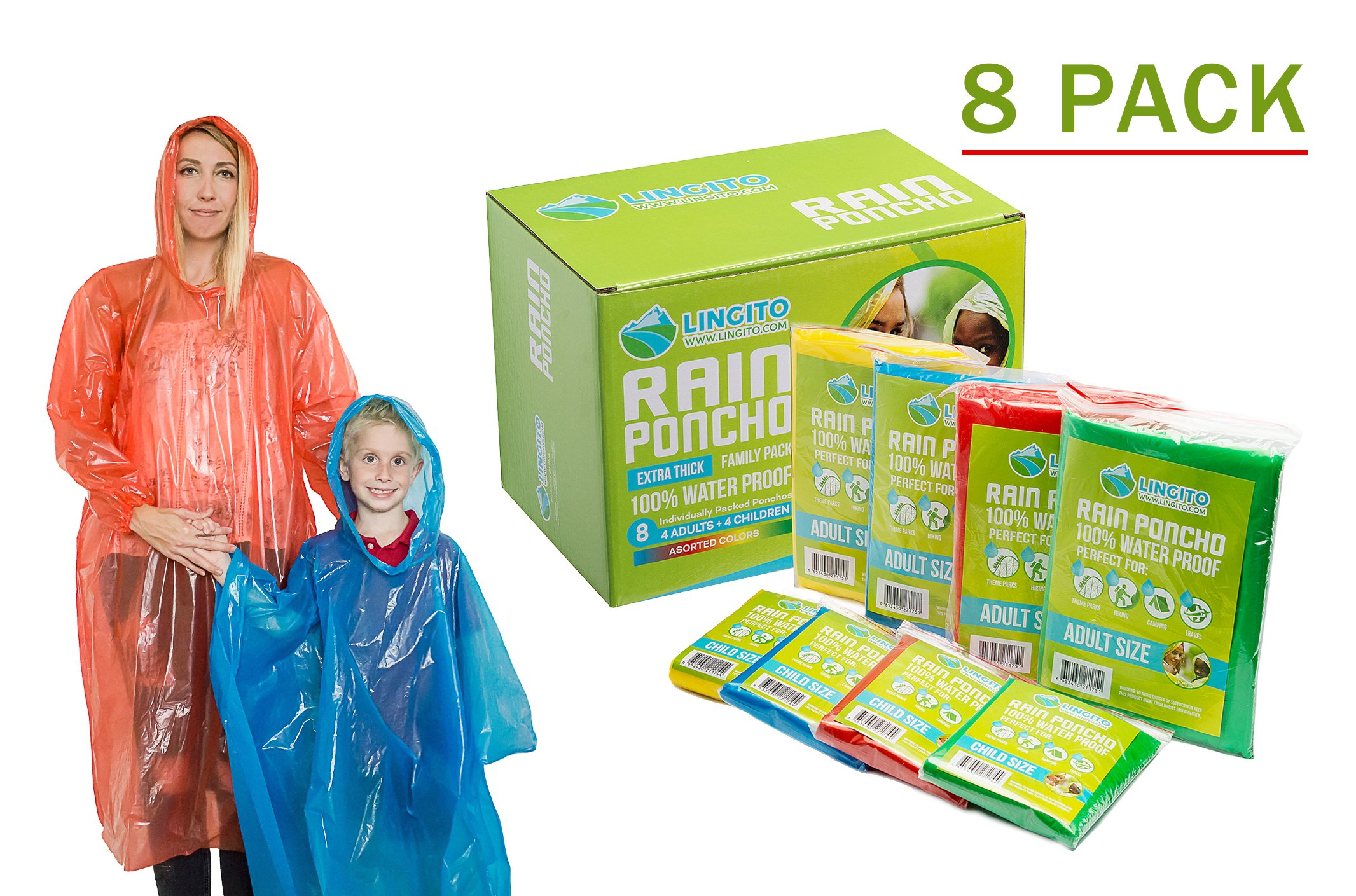 Rain Poncho: Disposable Emergency Rain Ponchos for Men , Women and Teens, Children (8pack)