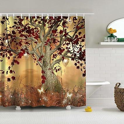 Uphome Vintage Old Twisted Tree Print Bathroom Shower Curtain