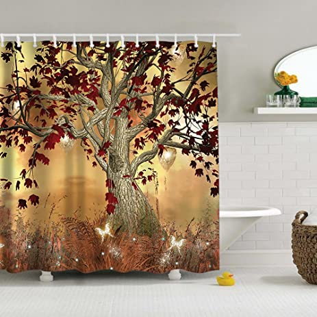 Amazoncom Uphome Vintage Old Twisted Tree Print Bathroom Shower - Water resistant bathroom window curtains for bathroom decor ideas