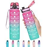 Elvira 32oz Motivational Fitness Sports Water Bottle with Time Marker & Removable Strainer,Fast Flow,Flip Top Leakproof Durab