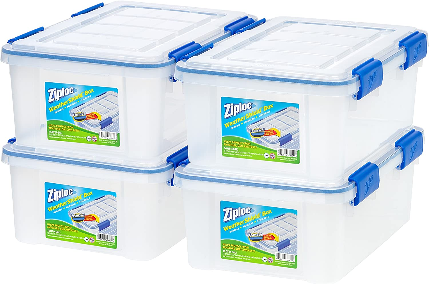 6 Pack Clear WeatherShield Storage Box Ziploc 16 Qt.//4 Gal
