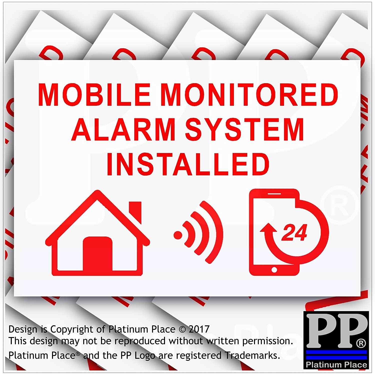 6 x MOBILE Monitored Alarm System Installed Stickers-130mm Red on White External Application-24hr Security Warning Signs for Home, House, Flat, Business, Property-Self Adhesive Vinyl by Platinum Place