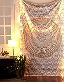 Rajrang Gold Mandala Tapestry Single Cotton Printed Wall Hanging Dorm Decor Tapestries