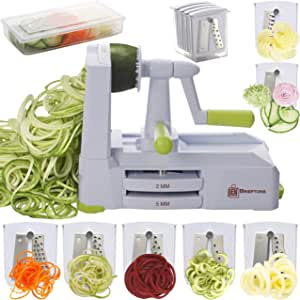 Brieftons 7-Blade Spiralizer: Strongest-and-Heaviest Duty Vegetable Spiral Slicer, Best Veggie Pasta Spaghetti Maker for Low Carb/Paleo/Gluten-Free, With Blade Caddy, Container, Lid & 4 Recipe Ebooks