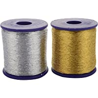 Am Zari Threads Golden And Silver,For Beading-Jewellery Making/ Decorations/Crafts, Pack Of 2