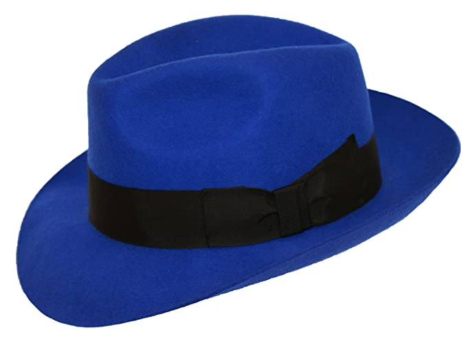 29a763b2392 Image Unavailable. Image not available for. Colour  ROYAL BLUE High Quality Ladies  Fedora Felt Trilby Hat ...