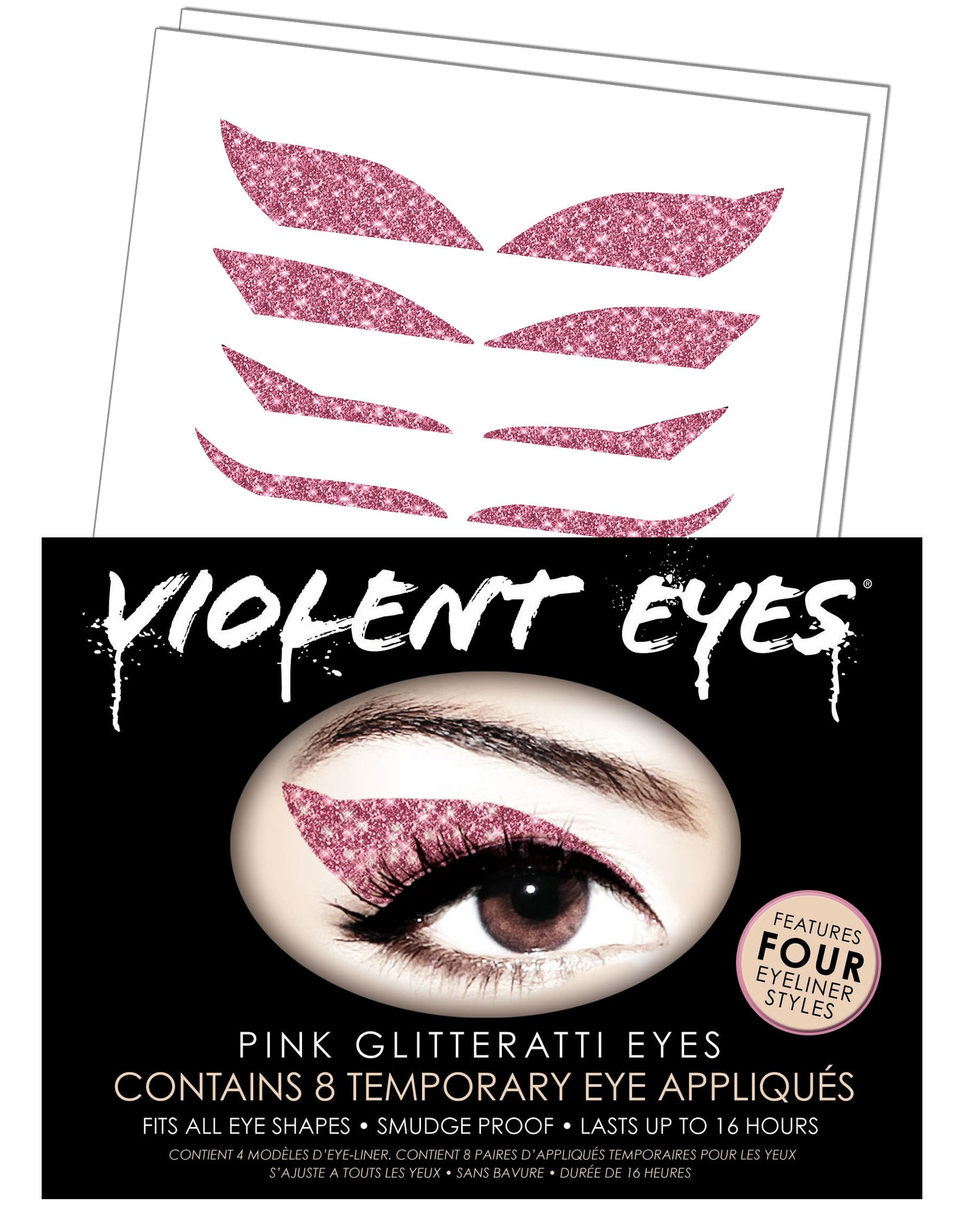 Violent Eyes - The Pink Glitteratti - Set of 8 Temporary Eye Appliques