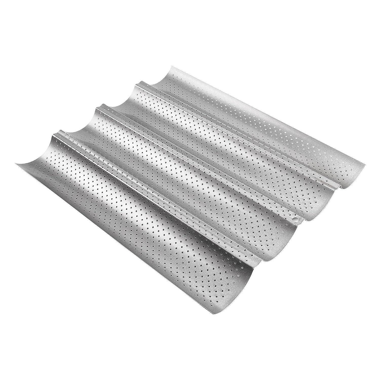 ECENCE Baguette-Backblech Baguetteform für bis zu 4 Baguettes Antihaft Beschichtung Back-Blech 81040307 4260473178163