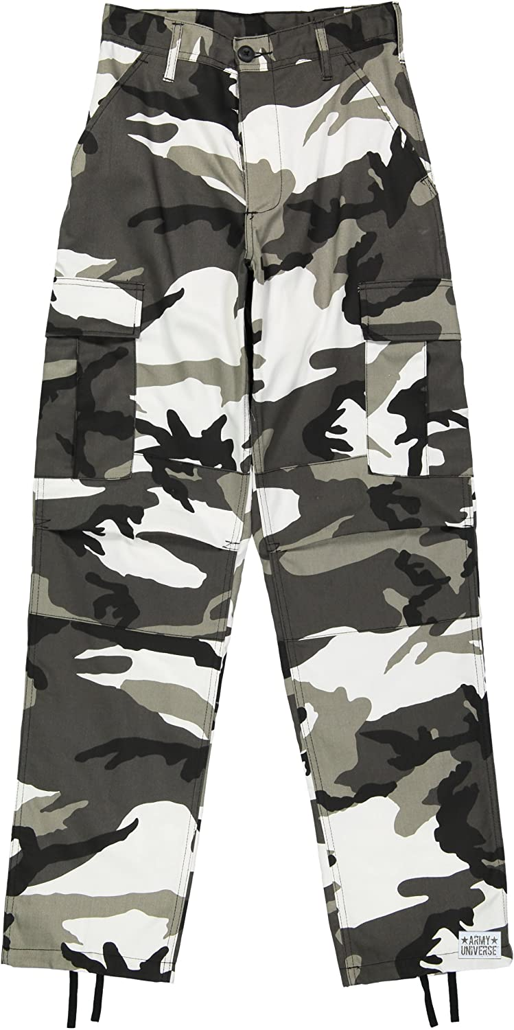 Amazon.com  Army Universe Mens Urban City Camo Black   White Camo Metro  Urban Cargo Pants Military BDU Fatigues with Pin  Clothing 6037aca9042