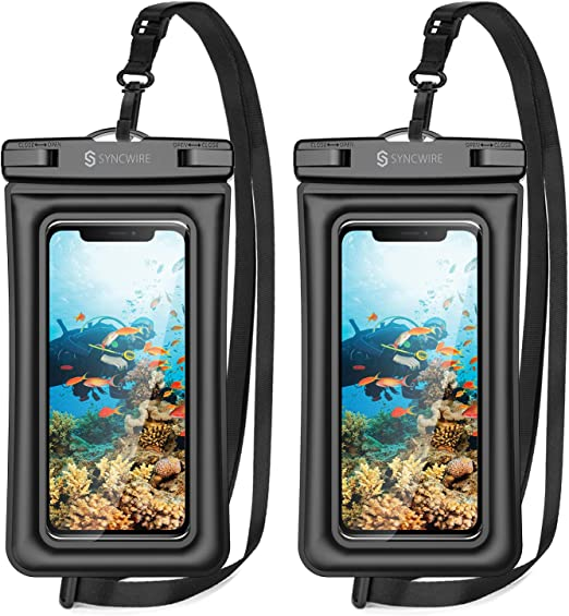 2 Pack Universal Waterproof Phone Pouch Dry Bag Underwater Swimming Case Cover