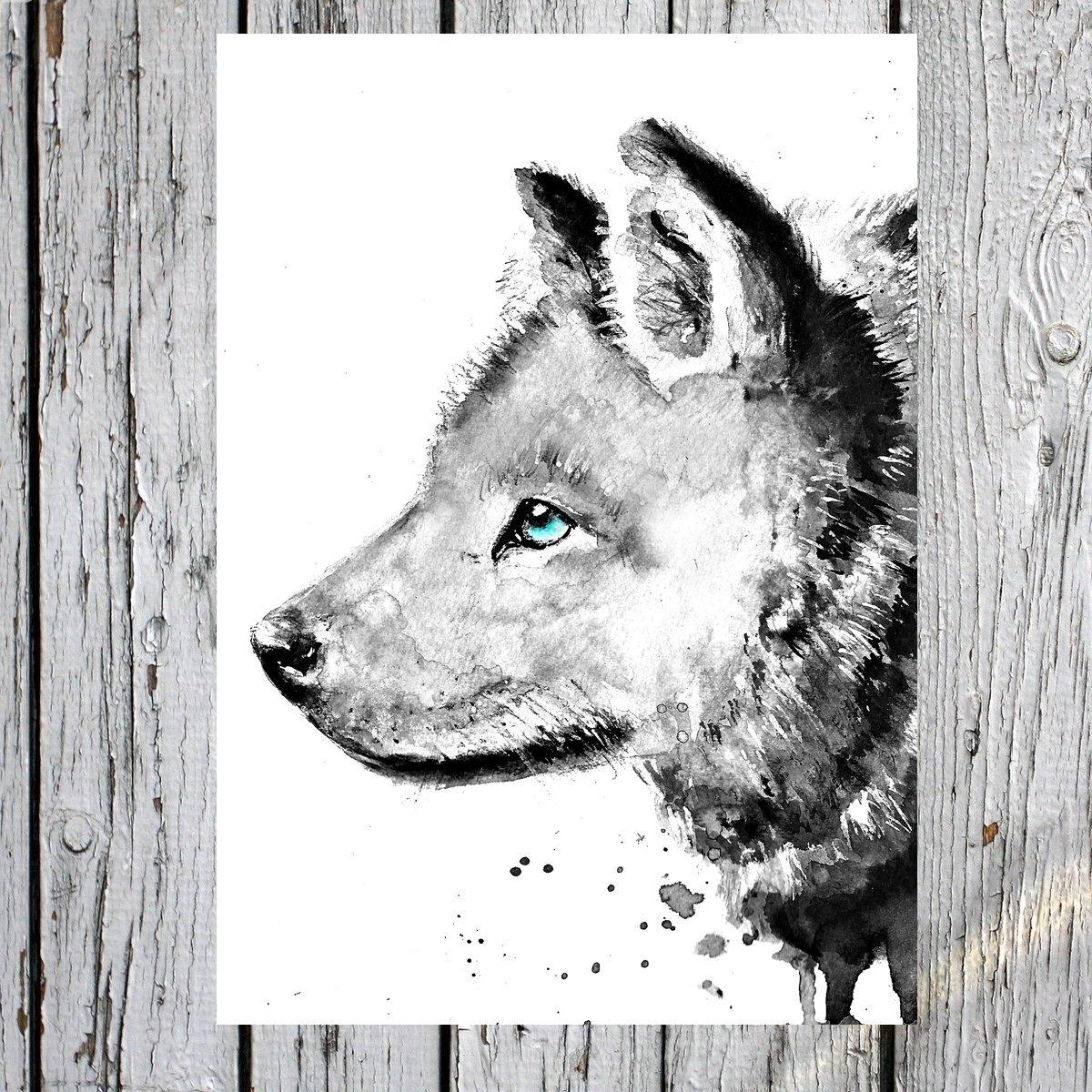 Tiny Tami ★ 'Blue eyed' Postkarte ★ Wolf ★ Liebe ★ Geburt ★ Gruß karte ★Wild ★100 % Handmade